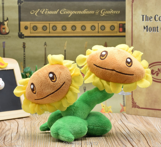 Plants Vs Zombies Plush Doll decorations soft stuffed toys 16CM twin sunflower Best Gift