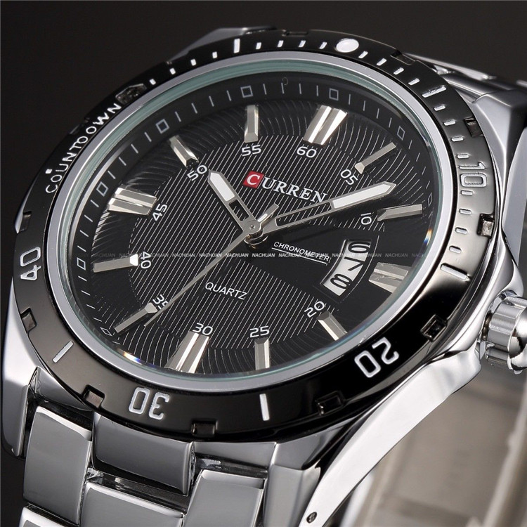 Genuine Watch 2015 Men Man Steel Watches Korean Fashion Waterproof Calendar Luminous Non Mechanical Quartz Watch(China (Mainland))