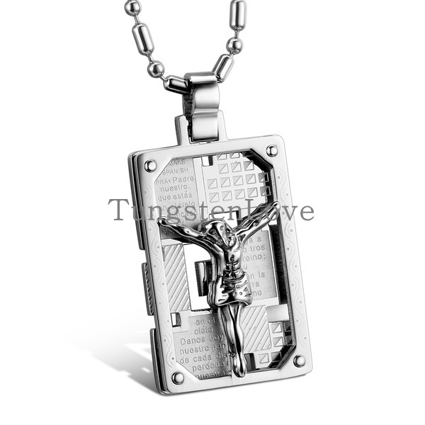 Fashion Mens Biker 316l Stainless Steel Jesus Christ Crucifix Necklace Cross Necklaces For Men Silver Dog Tag Xmas Gifts(China (Mainland))