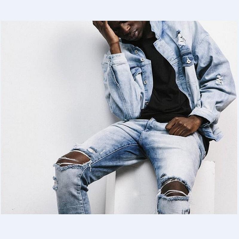 mens blau zerrissene jeans werbeaktion shop f r. Black Bedroom Furniture Sets. Home Design Ideas