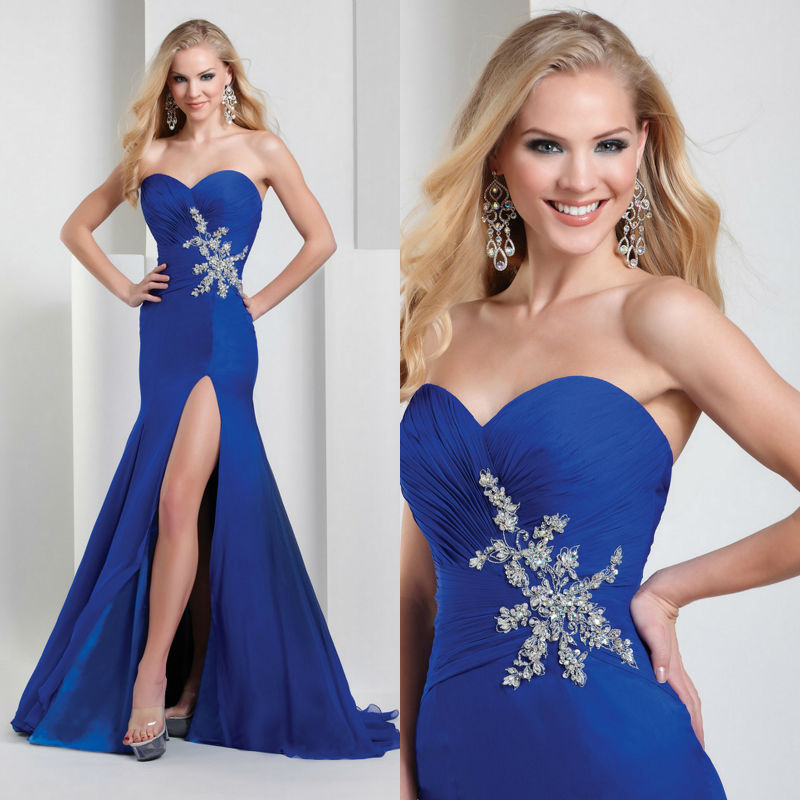 Stunnning Royal Blue Mermaid High Thigh Side Slit Prom Dresses 2014 Beaded Pleat Waist Sweetheart Chiffon Party Gown Girls - Find Your Perfec Dress store