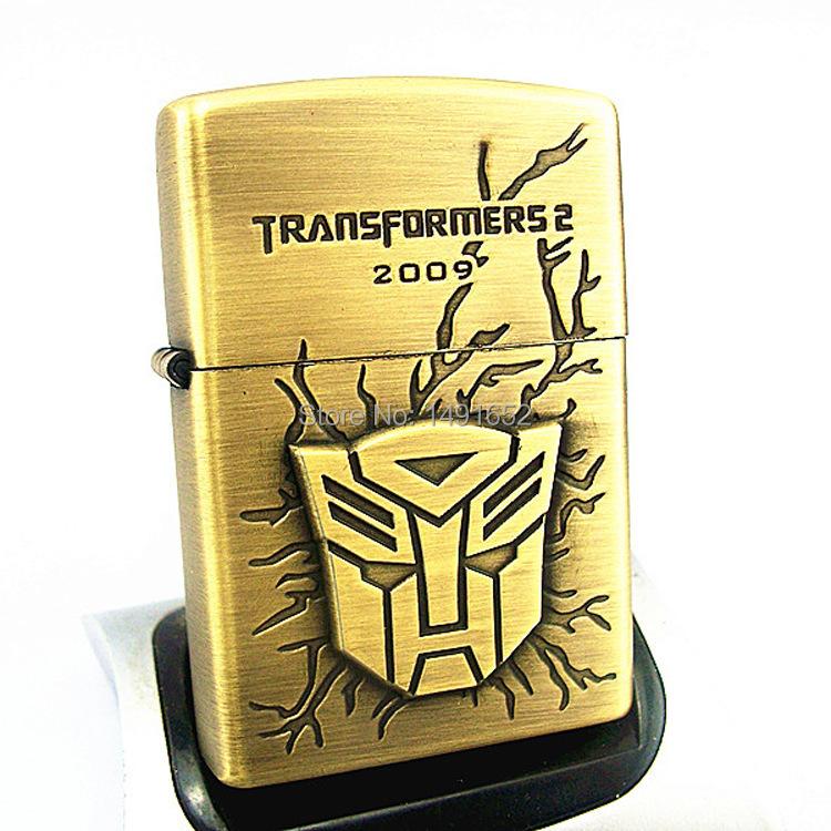 High Quality Transformers bronze Fashion oil kerosene lighters Windproof Metal Smoking Fuel Lighters with Free Flintstone(China (Mainland))