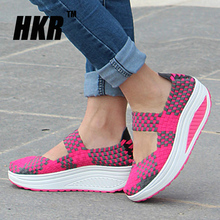 HKR 2016 Summer women platform sandals Shoes women Woven shoes Flat Shoes flip flop multi colors wedge casual shoes creeper 8822(China (Mainland))