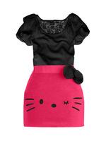 2015 summer hello kitty girls clothes skirt sets children short two pieces t shirt skirt kids