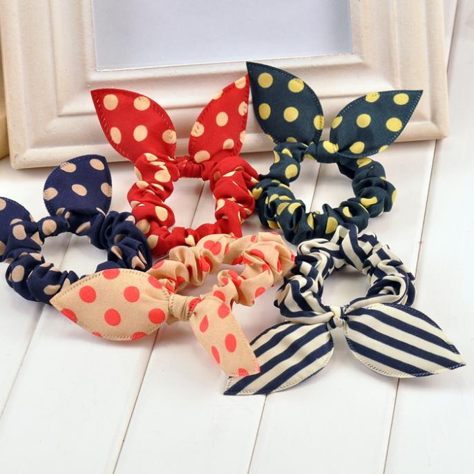new 2016 original head flower hair accessories headdress Korea trinkets rabbit ears Fabric Dot rubber band hair rope ring top(China (Mainland))