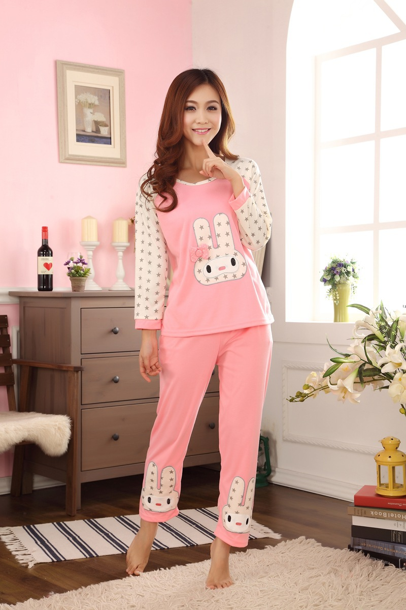 2015 spring and autumn pajamas new long sleeved women cute rabbit knitted 100% cotton clothing Nightwear Home Wear Z0408(China (Mainland))