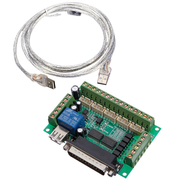 Upgraded 5 Axis CNC Interface Adapter Breakout Board For Stepper Motor Driver Mach3 + USB Cable(China (Mainland))