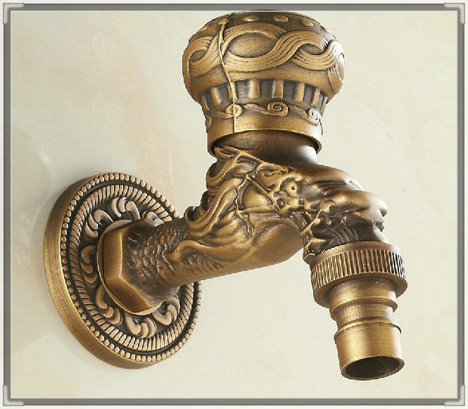 Antique Brass Dragon Pattern Washing Machine Faucet Wall Mount Single Cold Water Mop Pool Tap torneiras banho e cozinha water va(China (Mainland))
