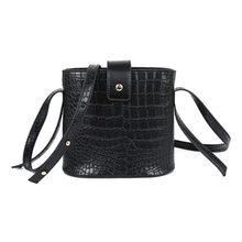 Nueva moda casual brillante cocodrilo bolsas de gran capacidad señoras simple de compras bolso cuero PU bolsos de hombro (negro) A3(China)