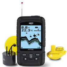 LUCKY 328ft /100m depth Fishfinder Sonar Transducer 2-in-1 Wired & Wireless Sensor Portable Waterproof Fish Finder FF718Li(China (Mainland))