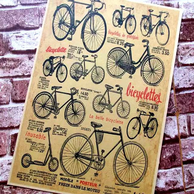 Issuable La Bella Bicyclette Bike Bicycle Collection Vintage Decorative Posters Kraft Home Decor Gift Wall Sticker Funs Poster(China (Mainland))