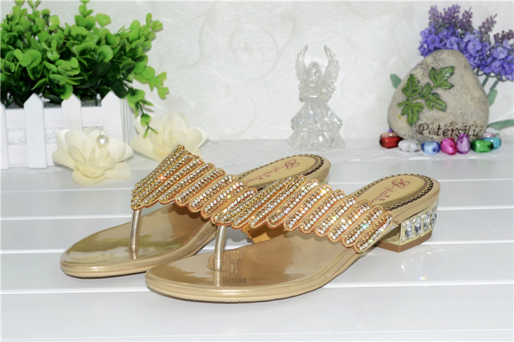 Genuine Leather Women's Sandals Summer 2016 New Diamond Slippers Bohemian Big Size Cool Brand Shoes