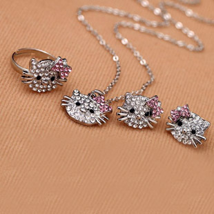 2sets Crystal Hello Kitty Children/Kids Jewelry Set, Free Ship Silver Cat&Hello Kitty Necklace&Ring&Earring Set,Christmas Gift