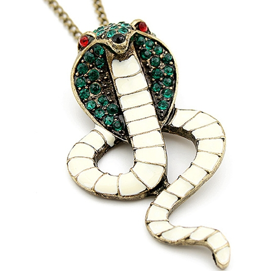 wholesale fashionable restore enamel green rhinestone cobra sweater chain free shipping for $15 mini mixed orde 3pcs/lotr(China (Mainland))