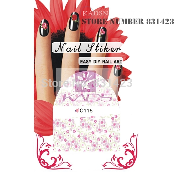 HOTSALE C115Mix Styles Flower Water Decals Rose Tulip Peony Designs Packing Nail Art Stiker Manicure Tools Nail decoration(China (Mainland))