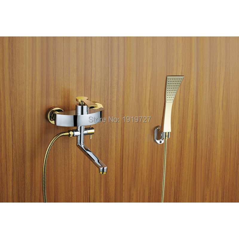 2016 Wholesale 100% Brass Brushed Nickel Or Chrome Or Gold Bathroom Luxury Abs Handheld Shower & Wall Mounted Tub Filler Faucet(China (Mainland))