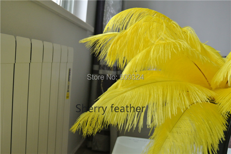 100pcs 14-16inch BRIGHT YELLOW Ostrich Feather Plumes for wedding feather centerpiece Wedding table decor feather decor(China (Mainland))