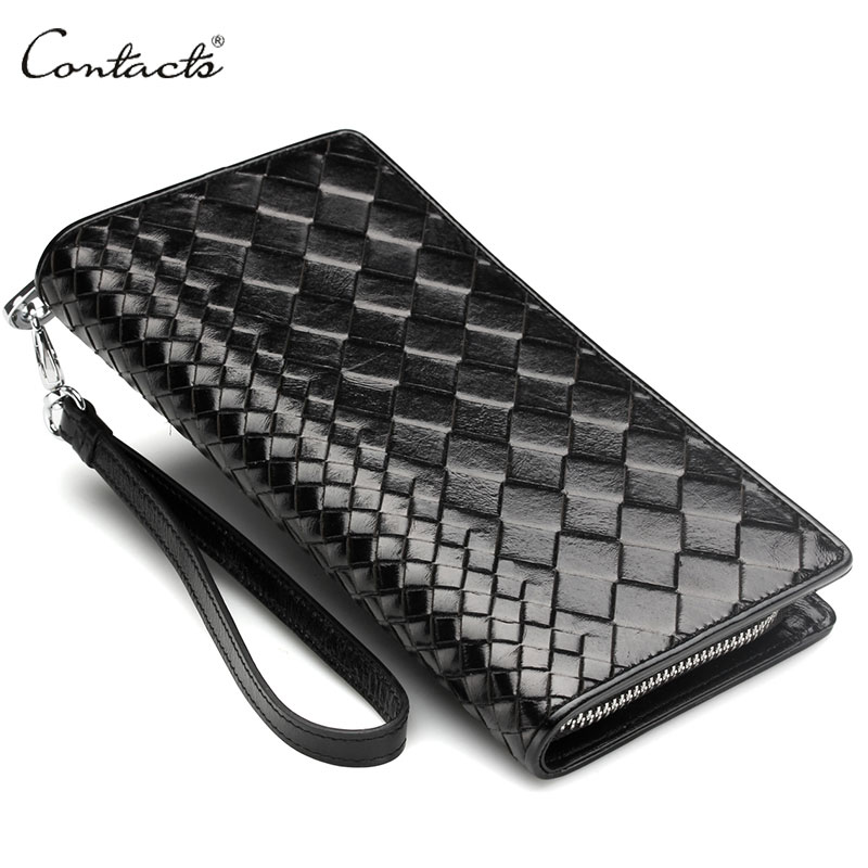 Brand New Intrecciato Men Wristlet Clutch Wallet 100% Genuine Leather Handmade Knitting Phone Wallet Credit Card Holder Cluth(China (Mainland))