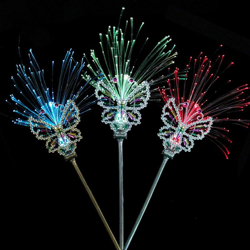 Fiber Optic Butterfly Fairy Stick Plastic Crown Headband Wand Neon Prom Girls Headdress Bar Ball Party Decor Flash Light L45(China (Mainland))