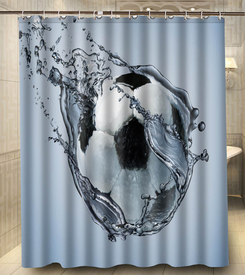Football Ball Exercise Water 150x180cm Waterproof Polyester Custom Shower Curtain Bath Curtain(China (Mainland))