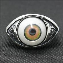 316L Stainless Steel Punk Gothic Vintage Flower Red Eyeball Silver Ring