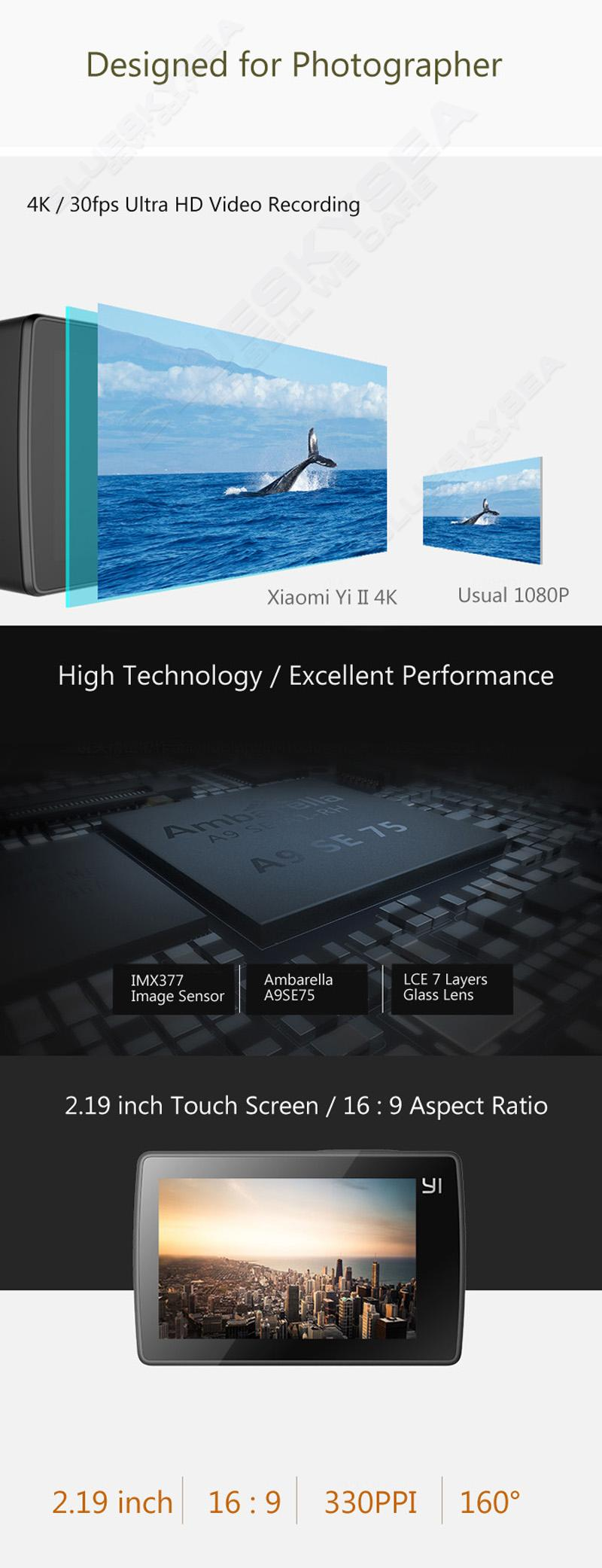 Free shipping! Xiaomi Yi 4K Action Sports Camera 2 II 2.19 Retina Screen Ambarella A9SE75 155 Degree