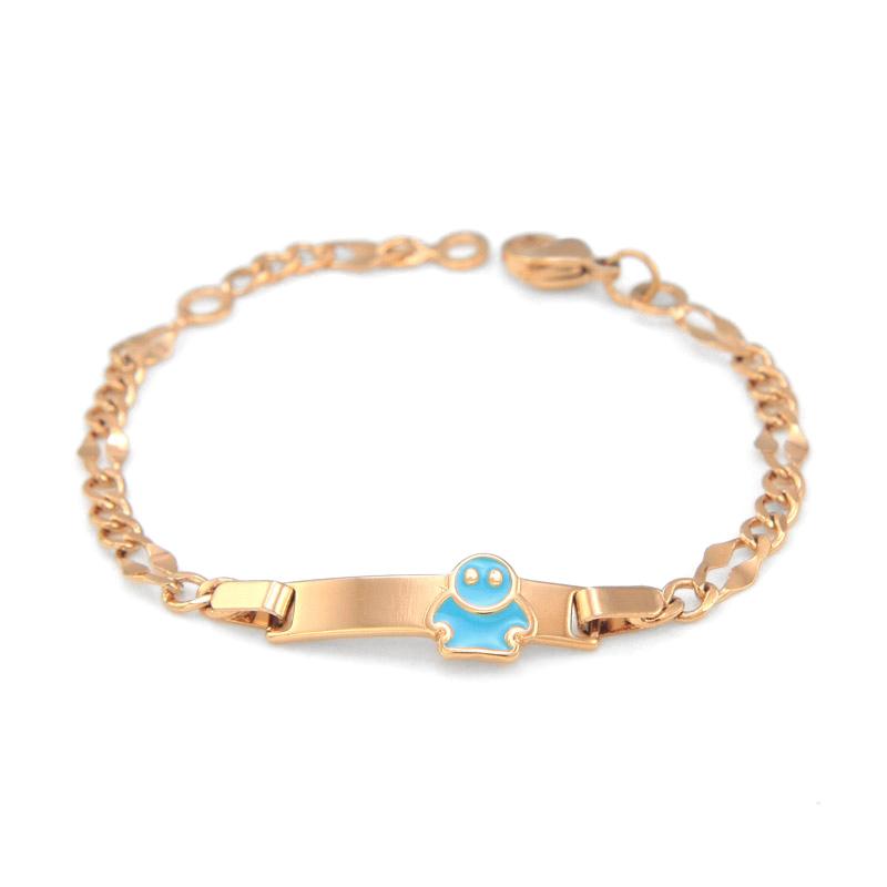 17CM Blue Bracelets for Kids Jewelry Baby Bracelet Gold Braclets Bangles Bracciali Ninas Pulsera Bebe Bracelete Teen Girls BR34B(China (Mainland))