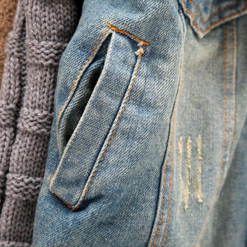 Скидки на Зимняя куртка женщины Теплый Меховой Воротник Женщины Зима Ковбой Пальто куртки и пиджаки