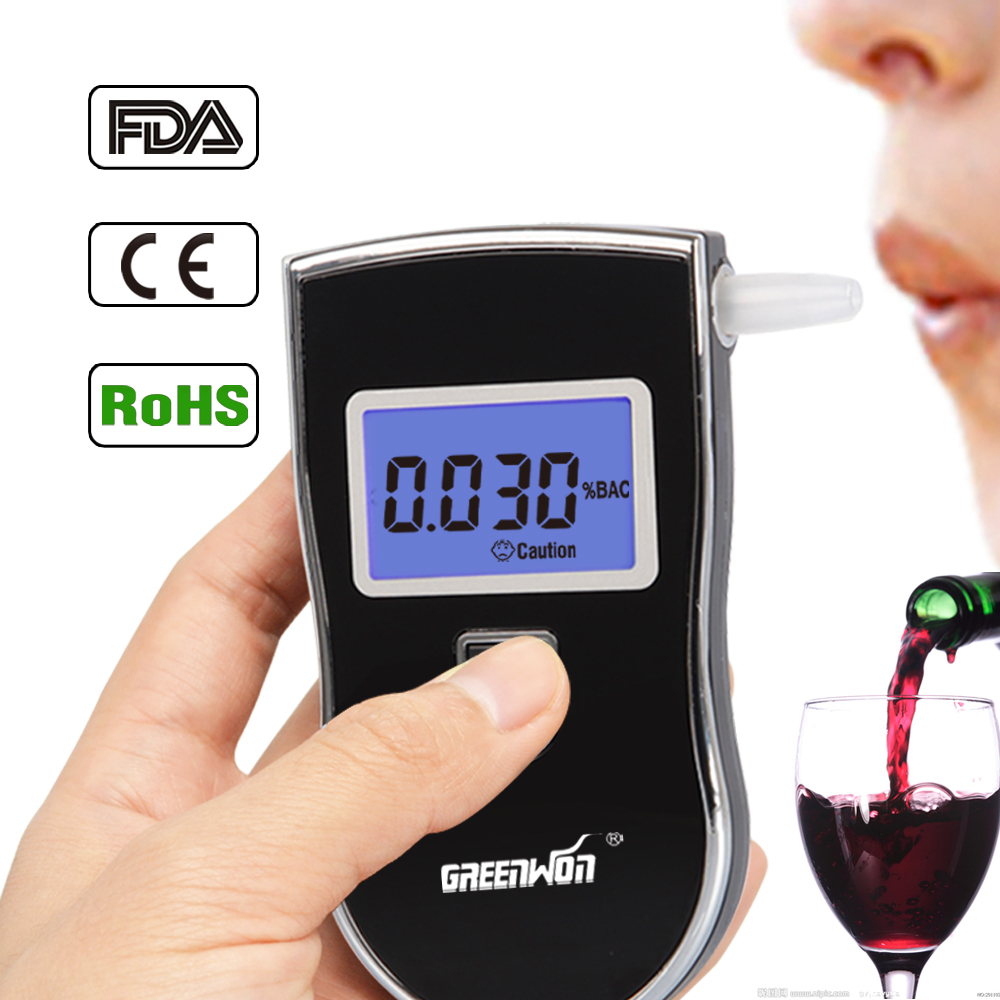 2017 NEW Hot selling Professional Police Digital Breath Alcohol Tester Breathalyzer AT818 Free shipping+10pcs mouthpieces(China (Mainland))