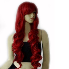 2016 New Fashion Women Curly 80CM Dark Red Full Head Set Colorful False Hair Hairpiece Hair Extension(China (Mainland))
