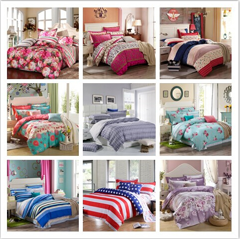 Home textile 4pcs 100% Cotton bedding sets Luxury Full/Queen/King Size Bed Sheet/Duvet Cover Pillowcases Set for home decoration(China (Mainland))