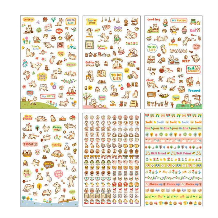 6 sheets/set DIY Cute Cartoon Cat Paper Planner Sticker Scrapbooking Diary Phone Sticker For Kids Children Stationary(China (Mainland))