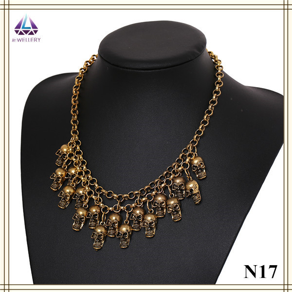 Free Shipping Factory Handmade Wholesale Cheap Men Gold Chain Skull Necklace Designs(China (Mainland))