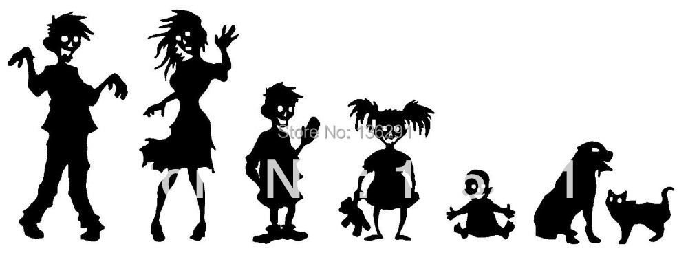 DIY Zombie Family Decal Set Stickers Stick Sticker Car SUV Window - coffee long's store