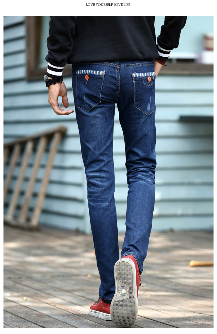 Men Slim Denim Jean Fashion Elastic Trousers Pencil Pants Spring And Winter Male Pants Casual Mens Jeans
