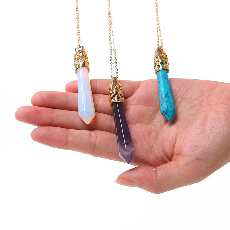 Hot Sale Raw Quartz Crystals Point Pendant Reiki Healing Amethyst Opal Pendant Necklace Pingente Mineral Jewelry Bohemian Style(China (Mainland))