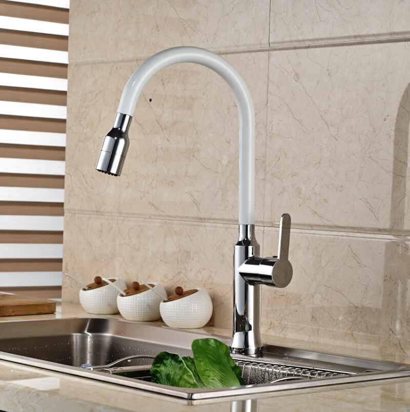 Фотография White Color Swivel Spout Kitchen Faucet Deck Mount Sink Mixer Tap