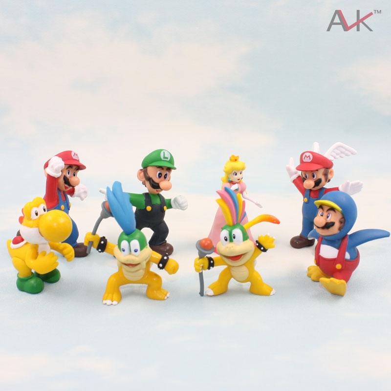 Free shipping 8pcs/lot Super Mario Bros Koopa Luigi Princess Troopa Mary Yoshi Action Figures Toy Doll<br><br>Aliexpress