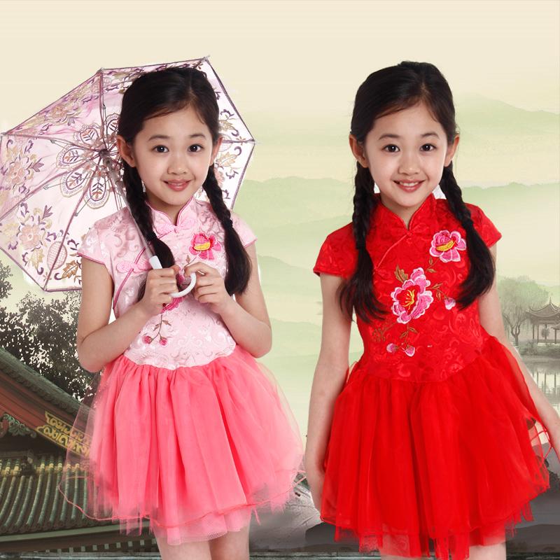 2016 Brand New Big Girl Children's Dresses China Cheongsams style Dress Classic Kids Costume Peony Embroidery Retro Mesh Dresses(China (Mainland))