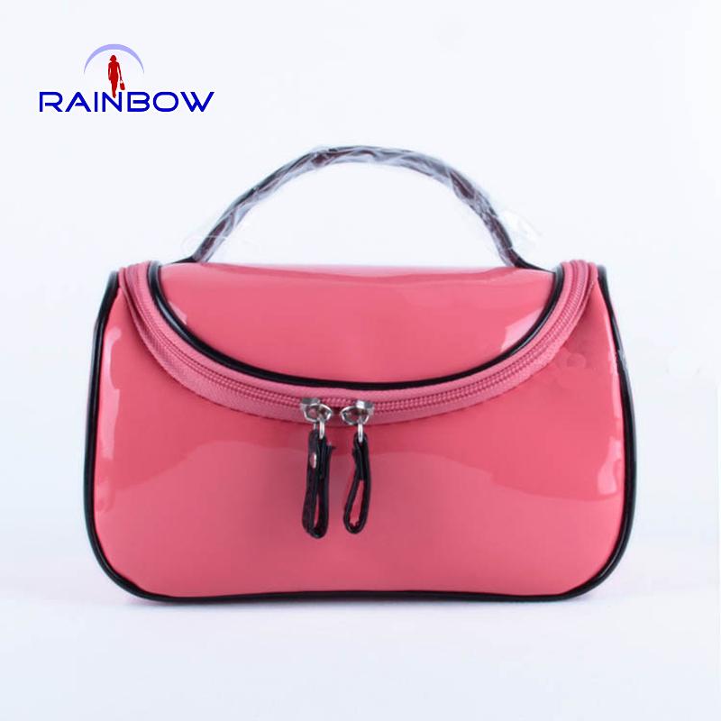 Women candy color makeup bag vintage hanging wash bag lady  travel storage cosmetic handbag(China (Mainland))