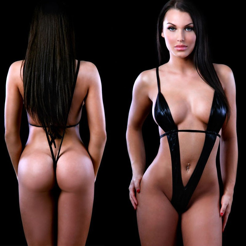 2016 Plus Size Women's Sexy Lingerie Hot Black Leather Erotic Lingerie Teddy Sexy Underwear Sexy Costumes Lenceria Sexy Lingerie(China (Mainland))