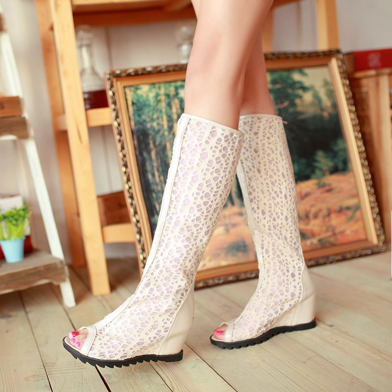 2014 New arrival Elegant Fashion Summer Womens sandals Black White Apricot  Fretwork Wedge sandals EUR Size 34-43  <br><br>Aliexpress