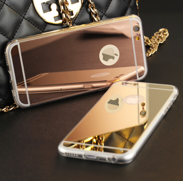"""J&R Luxury Plating Mirror TPU Frame Case For iphone 5S 5 SE 6 6S 4.7 6 6S Plus 5.5"""" Cover Soft Back Phone Bag(China (Mainland))"""