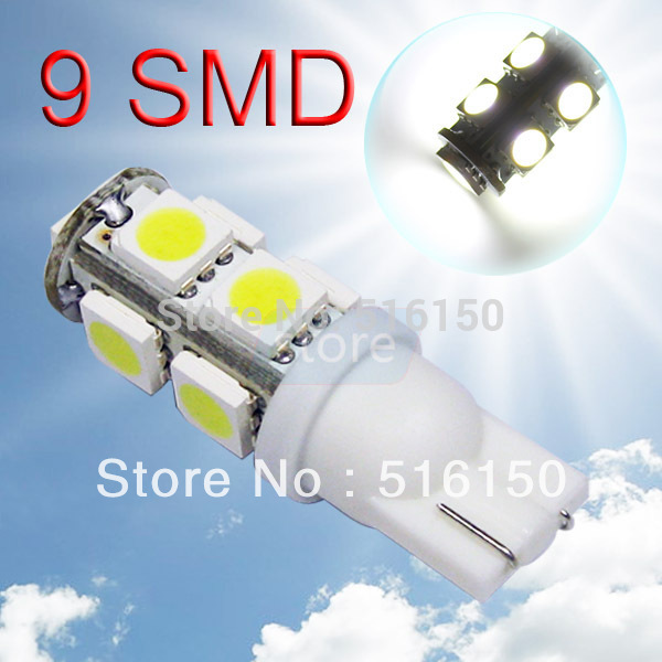 2pcs T10 9 SMD 5050 Pure White Wedge Signal 194 W5W 9 LED Car Light Bulb Lamp Interior Lights Instrument Lights 194/501(China (Mainland))