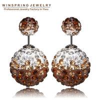 к 2015 году новейшие роскошные кристалл серьги 9colors цветок двойной шар Жемчужная Рождество серьги для женщин moq 1 пара
