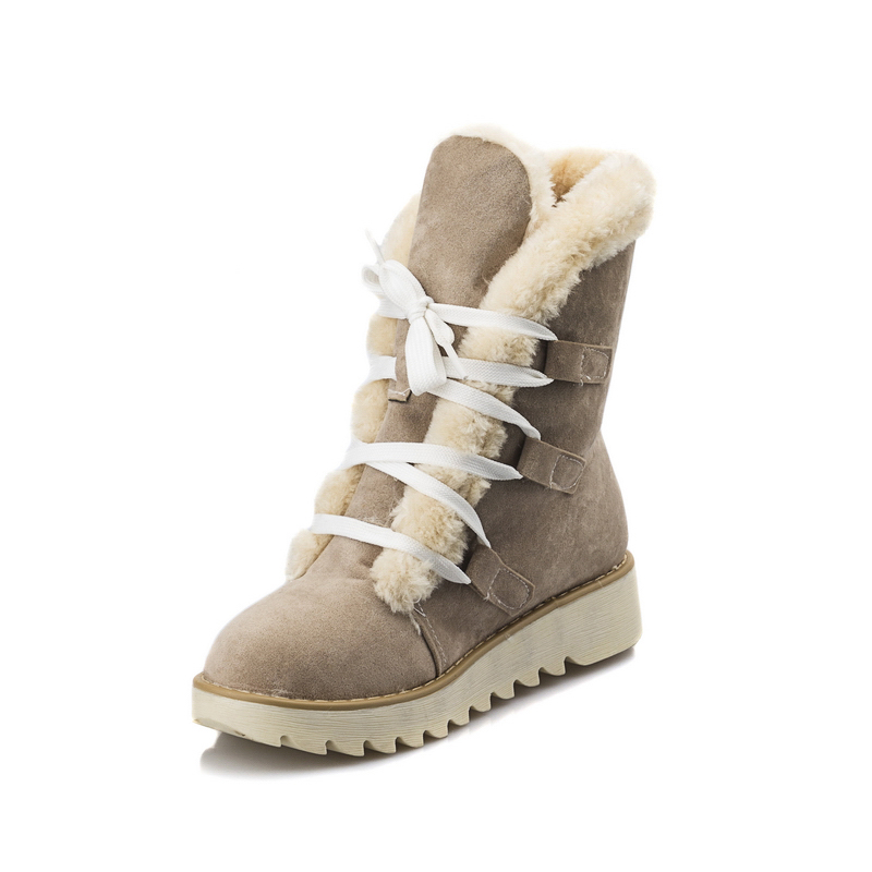 Big Brand Fashion Snow Boots Women Low Wedges Casual Dress Warm Fur Lining Shoes Woman Thick Skidproof Sole Lace Up Winter Boots(China (Mainland))