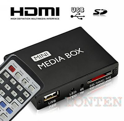 10pcs/lot HD Mini Multi-Media Player with Remote Control, HDMI Output(China (Mainland))