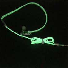 Fashion Design Metal Zipper Luminous Earphone Glowing Stereo Audio Headset With Mic Night Lighting Sport Headphone For All Phone(China (Mainland))