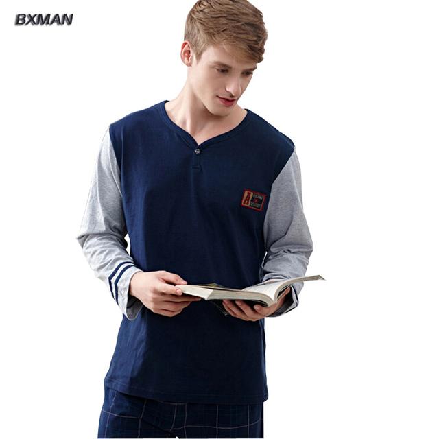 BXMAN Бренд мужской Homme Hombre Современный Пижама Pijamas Хлопок Твердые V-образным ...
