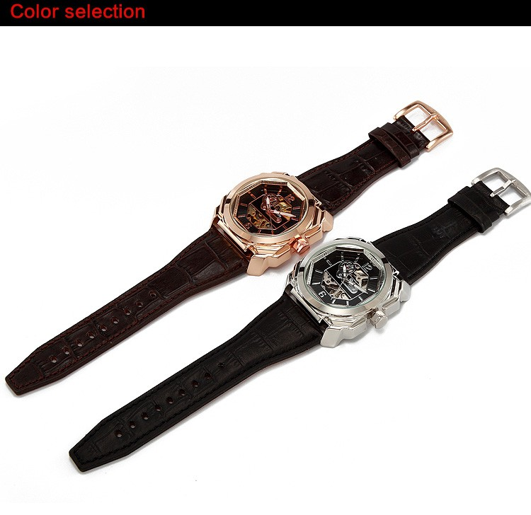 PNP and Gold Plating Alloy Case Genuine Leather Band Mechanical Hand Wind Watches Express Man Watch Oulm Brand Men Watch
